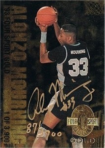 Alonzo Mourning certified autograph Georgetown 1993 Classic 4-Sport Gold card #/3900