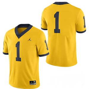 Ambry Thomas Michigan Wolverines 2017 authentic Nike Jordan maize yellow replica #1 jersey NEW