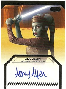 Amy Allen certified autograph Aayla Secura 2012 Star Wars Galactic Files card