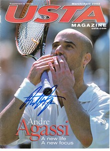 Andre Agassi autographed 2002 USTA Tennis magazine cover