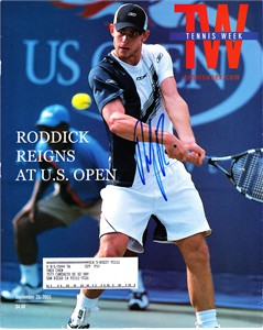 Andy Roddick autographed 2003 U.S. Open Tennis Week magazine cover