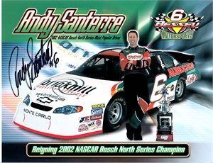 Andy Santerre autographed NASCAR Busch Series 8 1/2 x 11 photo card