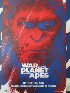 Andy Serkis autographed War for the Planet of the Apes 2017 Comic-Con movie poster