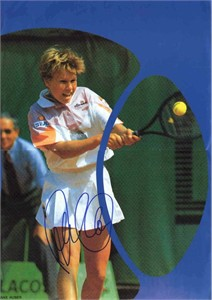 Anke Huber autographed tennis magazine mini poster