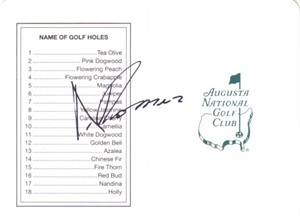 Andres Romero autographed Augusta National Masters scorecard