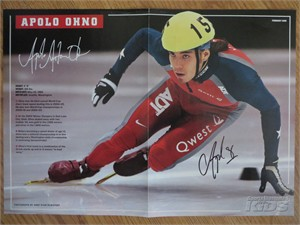 Apolo Anton Ohno autographed Sports Illustrated for Kids mini poster
