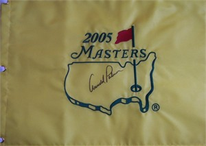 Arnold Palmer autographed 2005 Masters golf pin flag