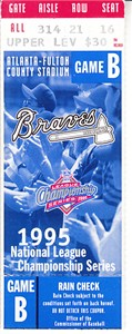 Atlanta Braves 1995 NLCS Game 4 ticket stub (Braves advance to World Series)