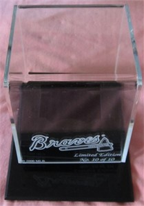 Baseball acrylic display case with etched Atlanta Braves logo