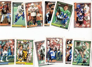 Lot of 12 different autographed 1992 Topps football cards (Gene Atkins Ken Harvey Eugene Lockhart William Roberts Michael Zordich)