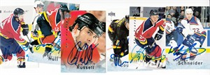 Lot of 6 different autographed 1995-96 Be A Player hockey cards (Russ Courtnall Radek Dvorak Mathieu Schneider Robert Svehla)