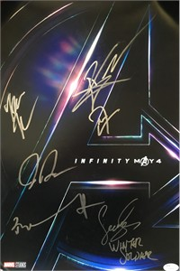 Avengers Infinity War cast autographed movie poster (Tom Holland Don Cheadle Dania Gurira Sebastian Stan) JSA