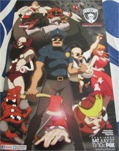 Axe Cop Fox Animation Domination 2013 Comic-Con promo poster and ADHD sticker card MINT