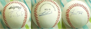 Barry Bonds Bobby Bonds Willie Mays autographed National League baseball