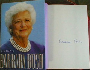 Barbara Bush autographed A Memoir first edition hardcover book
