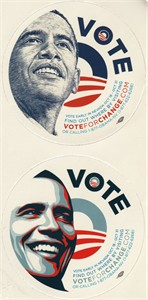 Barack Obama 2008 Nevada campaign set of 2 round decals