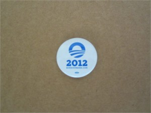 Barack Obama 2012 small white logo button or pin