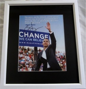 Barack Obama autographed 2008 campaign flyer photo matted & framed
