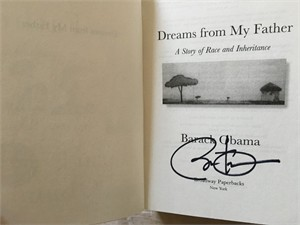Barack Obama autographed Dreams from My Father softcover book