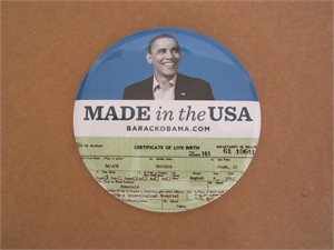 Barack Obama 2012 campaign Made in the USA huge button