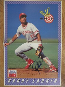 Barry Larkin autographed Cincinnati Reds Sports Illustrated for Kids mini poster