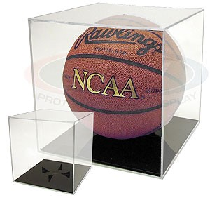 Basketball display case cube holder with black base