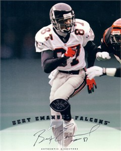 Bert Emanuel certified autograph Atlanta Falcons 1997 Leaf 8x10 photo card