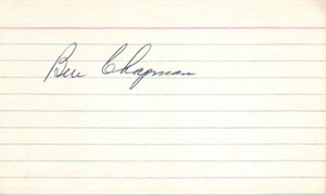 Ben Chapman autographed 3x5 index card (JSA)