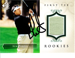 Ben Curtis autographed 2004 SP Signature golf card with worn shirt swatch