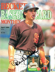 Benito Santiago autographed San Diego Padres 1988 Beckett Baseball cover (MLB authenticated)