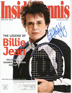 Billie Jean King autographed 2010 Inside Tennis magazine