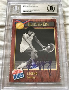 Billie Jean King autographed 1990 Sports Illustrated for Kids Legend tennis card Beckett Authenticated BAS