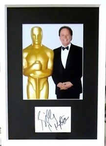 Billy Crystal autographed index card matted & framed with Oscars 8x10 photo