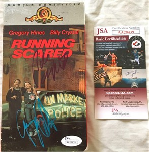 Billy Crystal & Gregory Hines autographed Running Scared movie VHS video box (JSA)