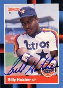 Billy Hatcher autographed Houston Astros 1988 Donruss card
