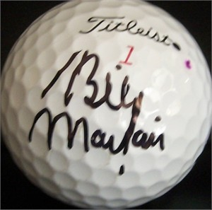 Billy Mayfair autographed tournament used Titleist golf ball