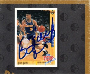 Billy Owens autographed Golden State Warriors 1992 Upper Deck card sheet cut