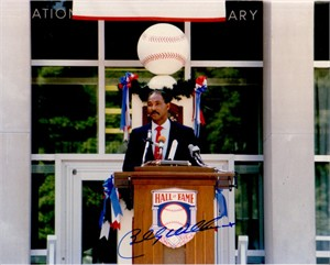 Billy Williams autographed Baseball Hall of Fame Induction speech 8x10 photo