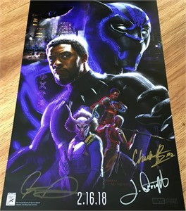 Black Panther autographed 2017 Comic-Con movie poster (Chadwick Boseman Winston Duke Letitia Wright)