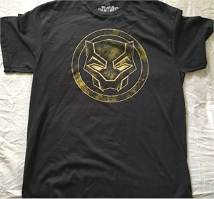 Black Panther gold logo Marvel T-shirt NEW