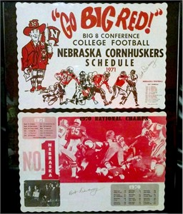 Bob Devaney autographed Nebraska Cornhuskers 1970 National Champions 1971 placemat set framed