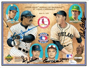 Bob Feller Reggie Jackson Earl Weaver Dick Williams autographed 1993 Upper Deck card sheet JSA