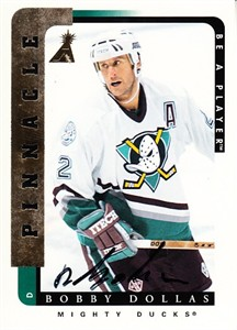 Bobby Dollas Anaheim Mighty Ducks certified autograph 1996-97 Pinnacle Be A Player card
