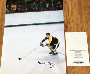 Bobby Orr autographed Boston Bruins 16x20 poster size action photo