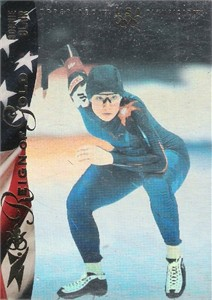 Bonnie Blair speed skating 1996 Upper Deck Reign of Gold hologram insert card