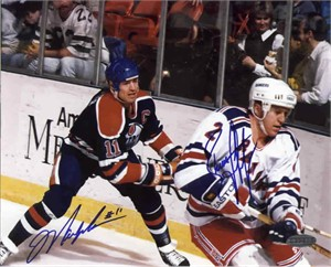 Mark Messier & Brian Leetch autographed 8x10 photo (Steiner)