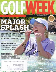 Brittany Lincicome autographed 2009 Kraft Nabisco Championship Golf Week magazine