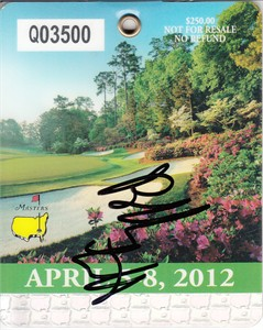 Bubba Watson autographed 2012 Masters golf badge
