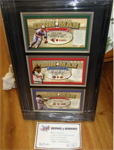 Cal Ripken 2001 Angels Salute To The Iron Man commemorative ticket set matted & framed