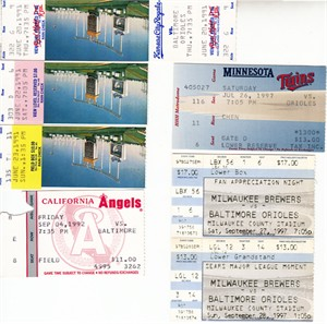 Cal Ripken Consecutive Games Streak lot of 7 different 1991 to 1997 road game tickets
